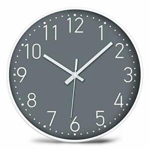 "YUNDO Battery Operated Wall Clock Silent & Non Ticking Modern Quartz 12"" (Grey)"