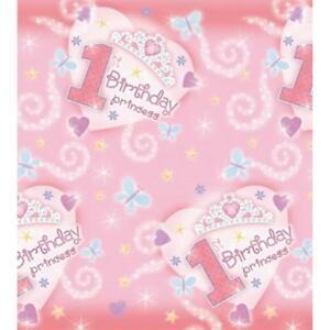1st Birthday Princess Paper Tablecover (137cm x 259cm)