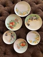 6 Antique Hand-Painted Signed German Fruit Flower 🌸 Plates Shabby Cottage Hg14