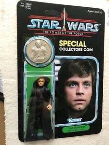 KENNER VINTAGE LUKE JEDI KNIGHT MANDALORIAN  ON  POWER OF THE FORCE CARD & COIN