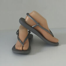 'HAVAIANAS' BNWOT SIZE '8/9' (39-40) SILVER ADJUSTABLE ANKLE STRAP THONG