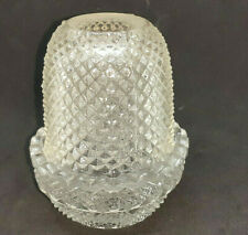 """ANTIQUE CLARKE FAIRY PYRAMID LAMP LIGHT CLEAR 4"""" SIGNED"""