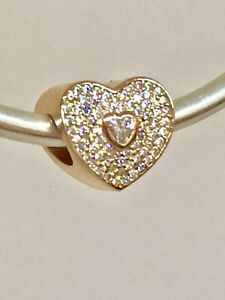 AUTHENTIC PANDORA SWEETHEART ROSE GOLD PLATED LOVE HEART CHARM #781555CZ + BOX
