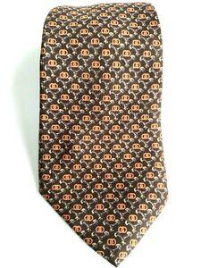 GUCCI Mens Necktie Italian Luxury Designer Geometric Print Brown Orange 3.5x58