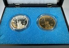1886-1986 US Liberty .999 Silver Coin with Gold Plated Coin as Bonus! GEM BU!