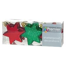 Décoration Sapin de Noël 9 Paquet 60mm Incassable Etoiles - Rouge/Vert