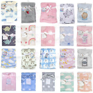Baby Newborn Cute Soft Fleece Blanket Pram Crib Moses Basket Girl Boy Unisex