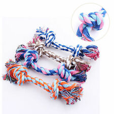 Colorful Cotton Knot Braided Pet Puppy Dog Teeth Health Clean Chew Toys Rope TR