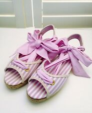 BALLY Women's Lace-up Flat Espadrille Sandals Pink & White Stripes Size 6.5