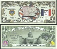 Lot of 500 Bills - Iowa State Million Dollar Bill w Map, Seal, Flag, Capitol