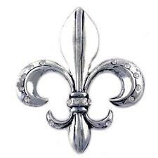 Antique Silvertone Lily Flower Fleur De Lis  Brooch Pin p797