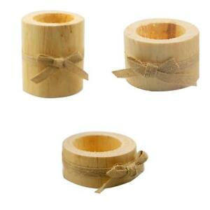 3pack Wooden Pillar Tealight Candle Holder Stand Succulent Plant Table Decor