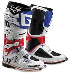 GAERNE SG12 MX ENDURO QUAD MOTO BOOTS, EU41, US7, J26, WHITE/BLUE/RED, 2160026