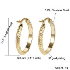 316L Stainless Steel Women Lady Fashion Gold/Silver Round Simple Hoop Earrings
