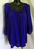 """AUTOGRAPH PURPLE ROYAL """"PEASANT"""" CROCHET 3/4 BELL SLEEVE TOP SZ 20-NEW JUST IN!!"""