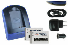 2x Batterie + USB Caricatore NB-5L per Canon PowerShot SD970 IS, SD990 IS
