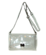 Brand New Clear jelly Plastic Transparent See-thru Handbag Purse silver chain