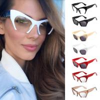 Clear Bottom Razor Semi Rimless Cut Off Lens Cat Eye Glasses Retro Sunglasses