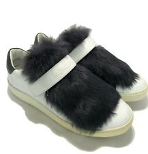MONCLER WHITE FUR TONGUE SNEAKERS, 38, $895