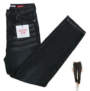 Celebrity Pink Hi Rise Relaxed Slim Fit Raw Hem Denim Jeans 27Wx27L NWT Black