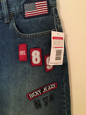 NWT DKNY JEANS Dark Denim JEANS SKIRT with FLAG LOGO Patch Patches Details Sz 6