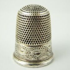 Antique 1900s Hallmarked Sterling Silver Thimble 8 Silversmith Charles Horner