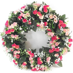 Large Artificial / Silk Flower Wreath  Pink  Rosebuds and Gyp  Memorial