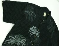 JAMAICA JAXX Silk Casual Hawaiian Shirt Gray Black Floral Short Sleeve Men's XL