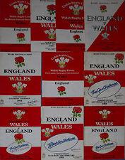 10 WALES v ENGLAND 1980-1989 INTERNATIONAL RUGBY PROGRAMMES BUNDLE