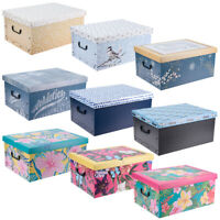 3 Collapsible Cardboard Storage Boxes Underbed Lightweight With Lids and Handles