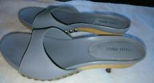 Miu Miu Light Blue Leather Wood Mules, Clogs size 38.5, 8 Xlnt Condition