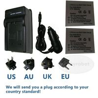 2X Camera Battery+charger for Canon NB-4L NB4L IXUS 80 IS 30 40 50 55 60 65