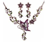 Vintage Womens Butterfly Crystal Purple Chain Pendant Statement Bib Necklace Set