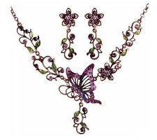 Vintage Women Butterfly Crystal Chain Pendant Statement Collar Bib Necklace Set