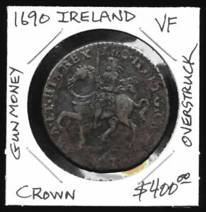 "1690 IRISH ""GUN MONEY"" CROWN (NICE VF !!) BOOK VALUE OF $400 USD > NO RESERVE"