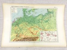 1888 Antique Map of The German Empire Germany Physical FRENCH Original