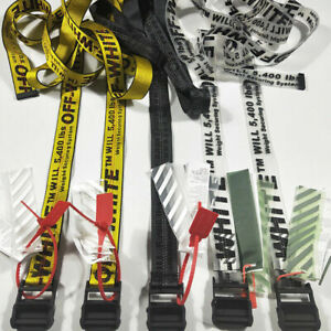 OFF WHITE Tie Yellow  Black Down Big IRON Head Industrial Belt 200CM w Tag