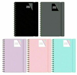 A5/A4 Notebook Note Pad Twin wire Spiral Poly Pastel Banded Lined Journal Ruled