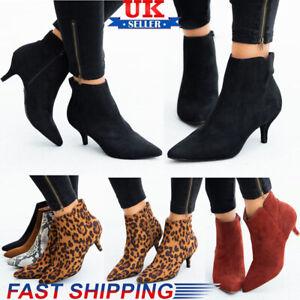 Women's Low Kitten Heel Ankle Boots Ladies Pointy Toe Zipper Office Shoes Size
