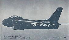 North American  FJ-2 Fury Fighter  U S Marines  Navy  Unused Postcard 974 Plane