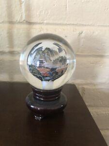 Unique Rare Glass Globe Table Asian Theme