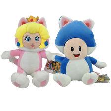"2X Super Mario 3D World Character Cat Princess Peach Toad Plush Toy Figure 7"""