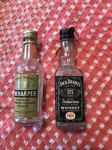 TWO Vintage  Whiskey AIRLINE Mini Bottles -TWA & DELTA AIRWAY, IW & JACK empty
