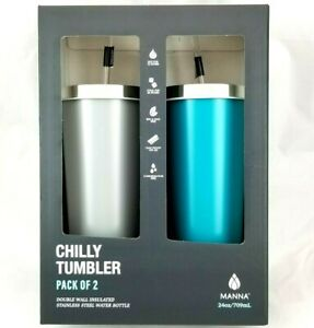Manna Chilly Tumbler 2 pack 24oz Double Wall Insulated Gray / Teal Hot Cold NEW