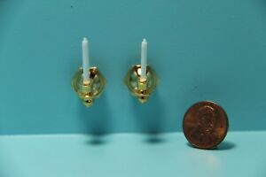Dollhouse Miniature Brass Single Arm Wall Sconce with Candles Set of 2 IM65519