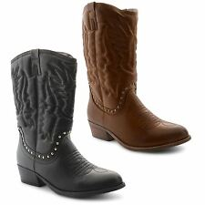 Mid-Calf Pull On 100% Leather Boots for Women