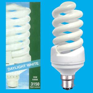 55W Daylight Low Energy CFL Spiral 6400k White Light Bulb Bayonet Cap BC B22