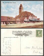1909 Colorado Postcard - Pueblo - Union Railroad Train Station