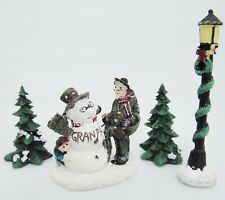 Saturday Evening Post Gramps Meets Granpa Snowman Trees Lamp Accessory Set w Box