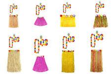 Ladies Hawaiian Hula Skirt Lie Hula Set Halloween Fancy Dress Party Accessories
